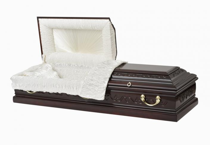 [Image: An exquisitely crafted casket displaying the warmth and beauty of dark wood.  Golden handles adorn this beautiful piece.]